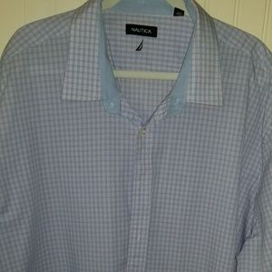 Nautica Mens Dress Shirt sz 3x Blue Pink